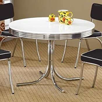 this item coaster retro round dining kitchen table in chrome white - Chrome Kitchen Table