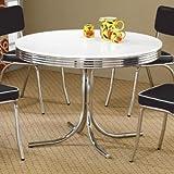 Kitchen Table Round Coaster Retro Round Dining Kitchen Table in Chrome / White