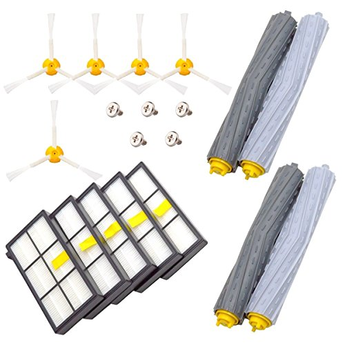 DerBlue Replacement Parts for iRobot Roomba 860 880 805 860 980 960 Vacuums, With 5 Pcs Hepa Filter, 5 Pcs 3-ArmedSide Brush, 2 Set Tangle-Free Debris Rollers - Roomba Vacuum Parts