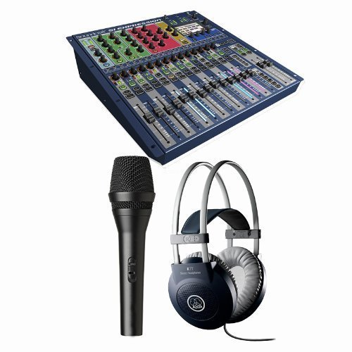 Soundcraft Si Expression 1 16-Channel Digital Mixing Console w Handheld Microphone and AKG K 77 Closed-Back Headphones - Mixing Console System