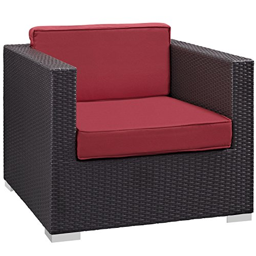 Modway Convene Outdoor Patio Armchair, Espresso Red