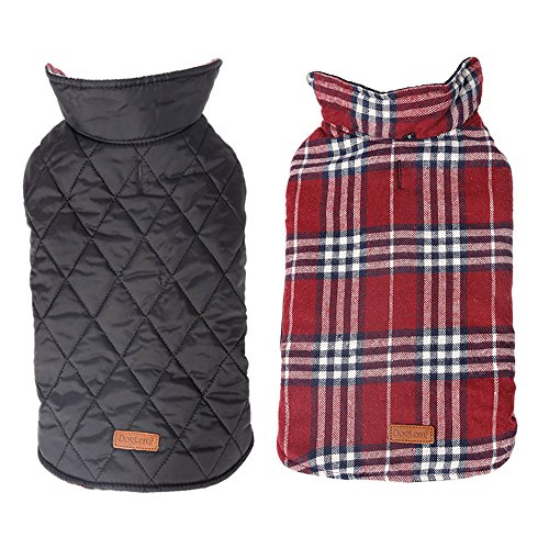 Cheap Waterproof Windproof Plaid Dog Vest Winter Coat Warm Dog Jacket Apparel for Cold Weather (Red, S)