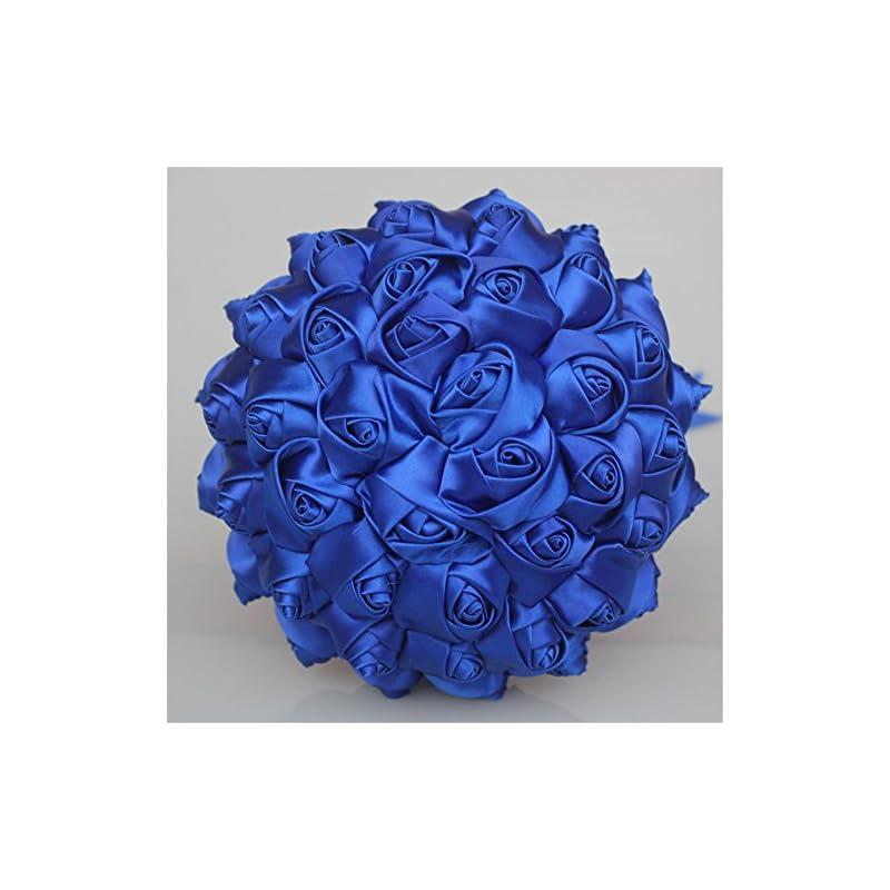 silk flower arrangements usix handcraft solid color popular satin rose bridal holding wedding bouquet wedding flower arrangements bridesmaid bouquet(blue)