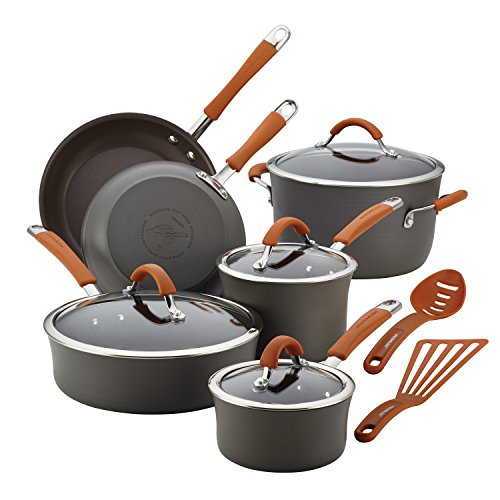 Aluminum Non Stick Cookware (Rachael Ray Cucina Hard-Anodized Aluminum Nonstick Cookware Set, 12-Piece, Gray, Pumpkin Orange Handles)
