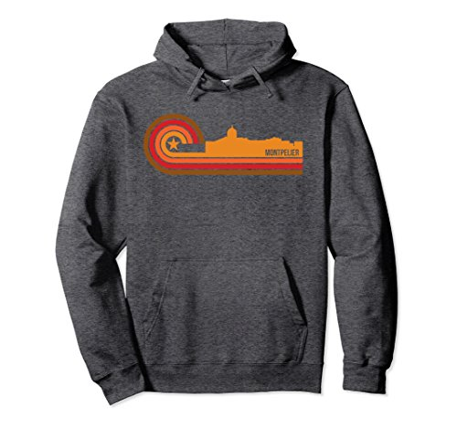 Unisex Retro Style Montpelier Vermont Skyline Hoodie Large Dark Heather