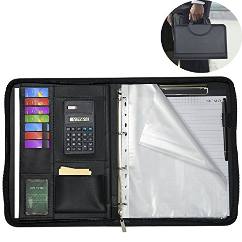 Zippered Padfolios Bussiness Folders Comes With a Writing Pad Faux Leather Case Portfolio Binder Interviews Resume Document Organizer ipad/Tablet/A4 Business Card and Pen Holders Namecards Holders by VINCILEE