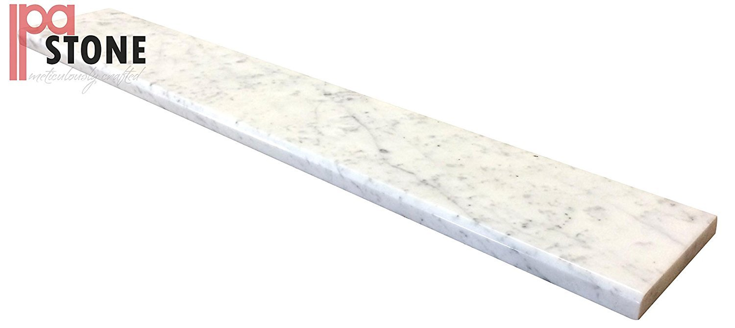 White Carrara Marble Saddle - Size 30 x 4 Inch - Polished by White Carrara Marble Threshold
