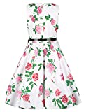 HuoGuo Girls Vintage Floral Print Swing Party Wedding Dresses 2-11Y White110CM(3-4 Years)