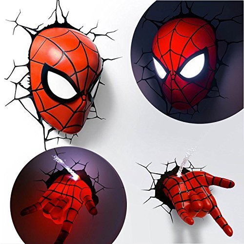 OZSHOP Marvel Avengers Spider Man Mask Head Face+ Hand 3D Deco Wall LED Night Light