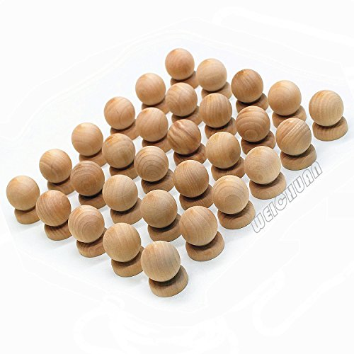 WEICHUAN 30PCS Ball With Base Shape Unfinished Wood Drawer Knobs Pulls Handles - Cabinet Furniture Drawer Knobs Pulls Handles (Diameter: 1-3/8 Inches Height: 1-3/4 Inch) - Unfinished Wood Drawer Knobs