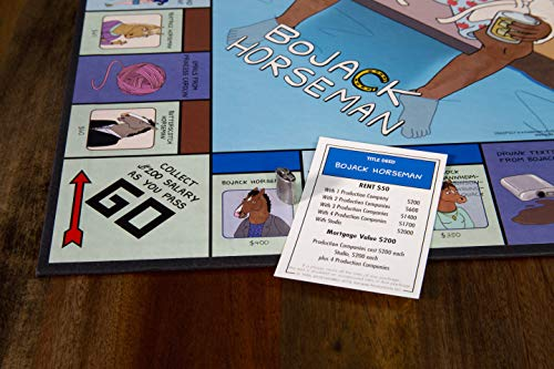 Monopoly BoJack Horseman Board Game | Recruit Your Favorite BoJack Horseman Characters in this version of Monopoly | Based on the BoJack Horseman Netflix Show | Custom Tokens, Money and Game Board