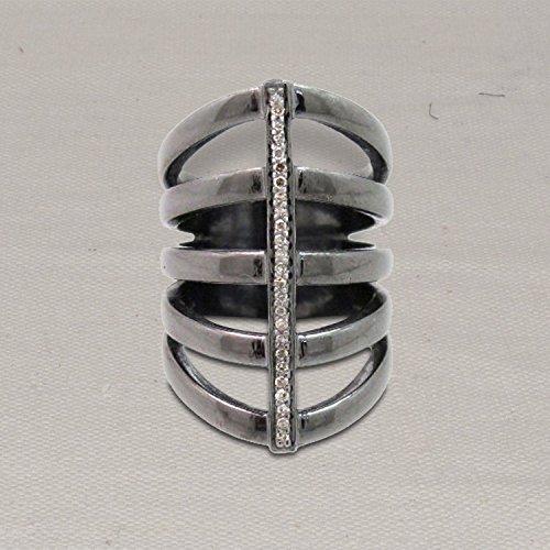 Christmas Sale Handmade Silver Pave Diamond Micro Pave Ring, Diamond Silver Row Line Ring Jewelry by Jaipur Handmade Jewelry