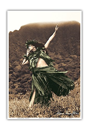 (Pacifica Island Art Primitive Hula - Hawaiian Hula Dancer - Original Hand Colored Photograph by Alan Houghton - Hawaiian Master Art Print - 13 x 19in)