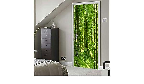LXHLXN Fabricante especializado 3D bambú Verde Bosque Creativo Puerta Pasta salón Estudio Fondo Pared Pasta: Amazon.es: Hogar