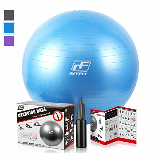2000lbs Exercise Stability Ball By RitFit, Anti Burst for Pilates Yoga Gym Fitness ,Use As Desk Chair, Hand Pump& Workout Guide Included,Gym Quality (Blue, 55cm)