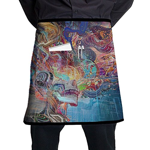 Colorful Cool Dragon Wallpaper Pattern Stylist Waist Chef Apron With Pockets, Restaurant Short Bistro Family Half Aprons For Men Women, 21.3 X 17.7 Inches, Black (Present Christmas Black White Clipart)