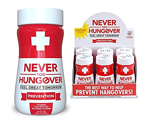 Hangover Prevention Drink - Never Too Hungover Prevention w/Electrolytes for Rehydration, B Vitamins for Energy & Nutrient Replenishment to Help Avoid Hangovers - 6 Pack - 3.4 Oz ()