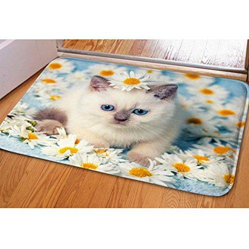 Women Ladies Room Floral Doormat Beautiful Cat Kitty Print Indoor Floor Mat For Bedroom Entryway Bathroom Fast Dry Absorbent Washable Interior Front Door Mat Soft Flannel Surface Dorm Entryway (Soft Surface Washable)