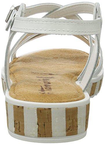 Silver Tamaris Sandales White Weiß 191 Ouvert Femme 38 28224 EU Bout Blanc FF5qwvr