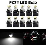 Partsam 10Pack White Twist Socket T5 73 74 3528 SMD LED Gauge Cluster Bulbs Dashboard Light Lamp Instrument Panel Indicators
