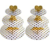 3-Tier Cardboard Cupcake Stand/Tower 2-Pack (Gold Dot)
