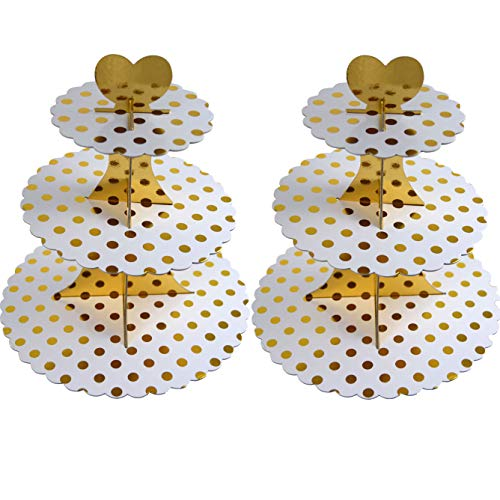 3-Tier Cardboard Cupcake Stand/Tower 2-Pack (Gold Dot) by My Party Time (Image #4)