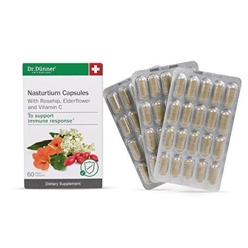 Dr.Dünner Organic Nasturtium Capsules with Rosehip, Wild-Grown Elderflower, and Vitamin C, Vegan Immune Booster, Gluten-Free, Lactose-Free, Non-GMO, Made in Switzerland, 60 Count
