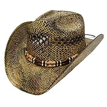 modestone unisex cool straw cowboy hat light yellow black