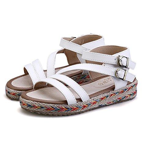 Leather Bke (Believed Women Platform Sandals Leather Flat Sandals Low Wedges Summer Sandalias Ladies Gladiator Sandals(White 41/10.5 B(M) US Women))