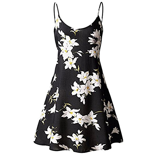 - Women's Sexy Boho V-Notch Sleeveless Beach Floral Mini Dress Spaghetti Strap Swing Skater Sundress (XL, Black 002)