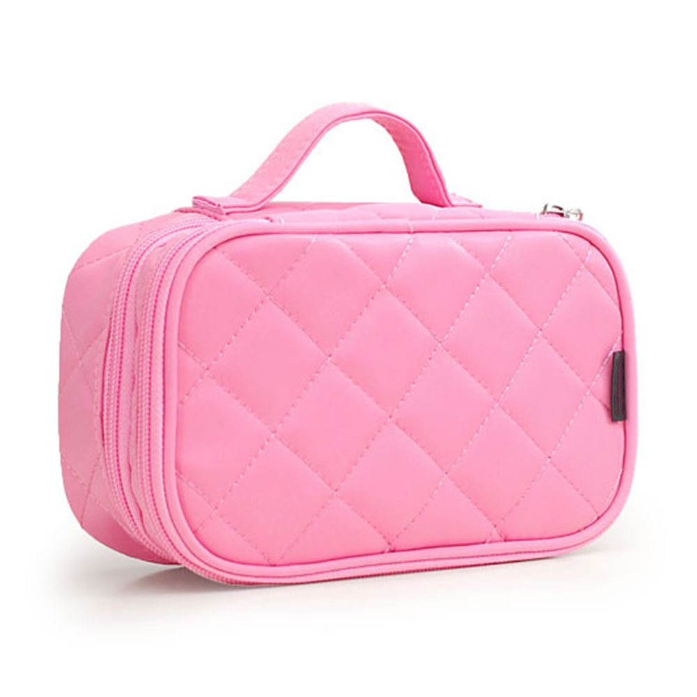MONSTINA Cosmetics Bag,Double Layer Makeup Bag, With Mirror Beauty Makeup Brush Bags Travel Kit Organizer,Cosmetic Bag Professional Multifunctional Organiser For Women (Double Layer, M-Pink)