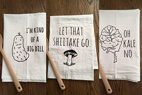 (Funny Dishcloths/Tea Towels ~ Discount Mix and Match 3 ~ Funny Kitchen Cloths.)