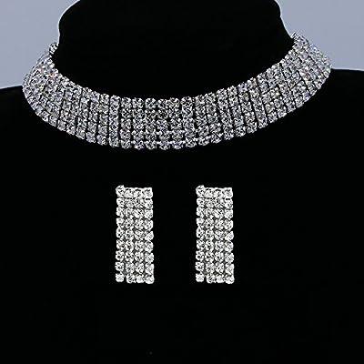 YINLI Clear 3/5 Row Crystal Rhinestone Gem Choker Necklace Earrings Jewelry Set for Bridal Wedding