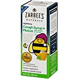 Zarbee's Naturals Children's Cough Syrup + Mucus Nighttime with Dark Honey, Natural Grape Flavor, 4 Fl. Ounces