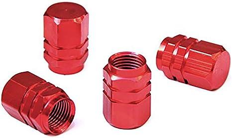 Rosso 8 Pezzi Coprivalvola Pneumatici Tappi Valvola in Alluminio Auto Tappi Antipolvere di Pneumatici Ruota Stelo Valvola Cappucci delle Valvole