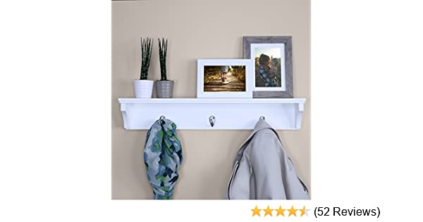 Simple Entryway Hallway Storage Display Stand Ballucci Wooden Wall Mounted Hat and Coat Rack Shelf with 3 Metal Hooks White 24 Furniture021 24