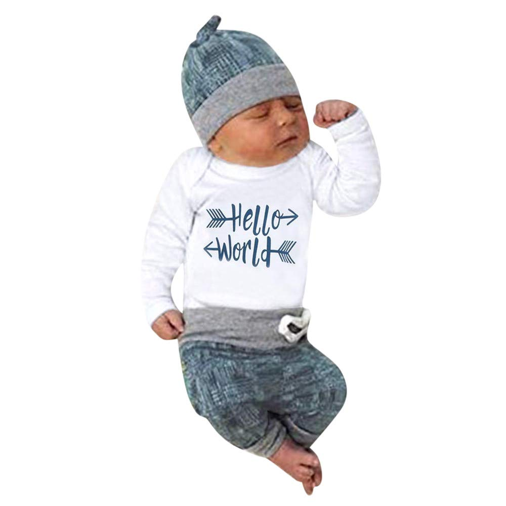 Tronet 3PCS Newborn Baby Boy Girl Clothes Letter Print Romper+Long Pants+Hat Outfit Sets