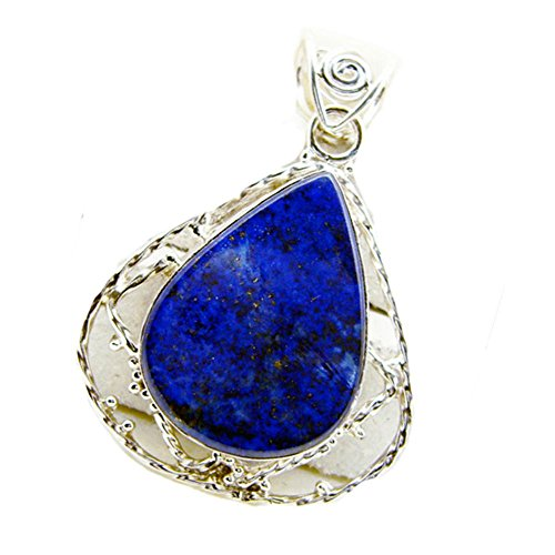 Jewelryonclick Genuine Lapis Lazuli Pendent Locket Handmade Antique Necklace Anniversery Gift Jewelry ()