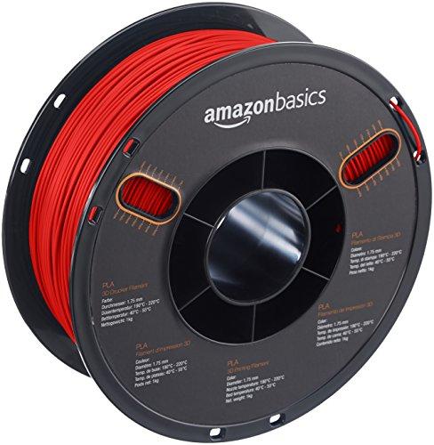 AmazonBasics PLA 3D Printer Filament, 1.75mm, Red, 1 kg Spool