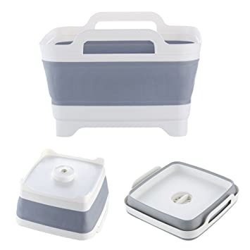 Dish Tub, Yummy Sam Foldable Food Strainers Collapsible Dish Tub DishPan Colander  Over The Sink