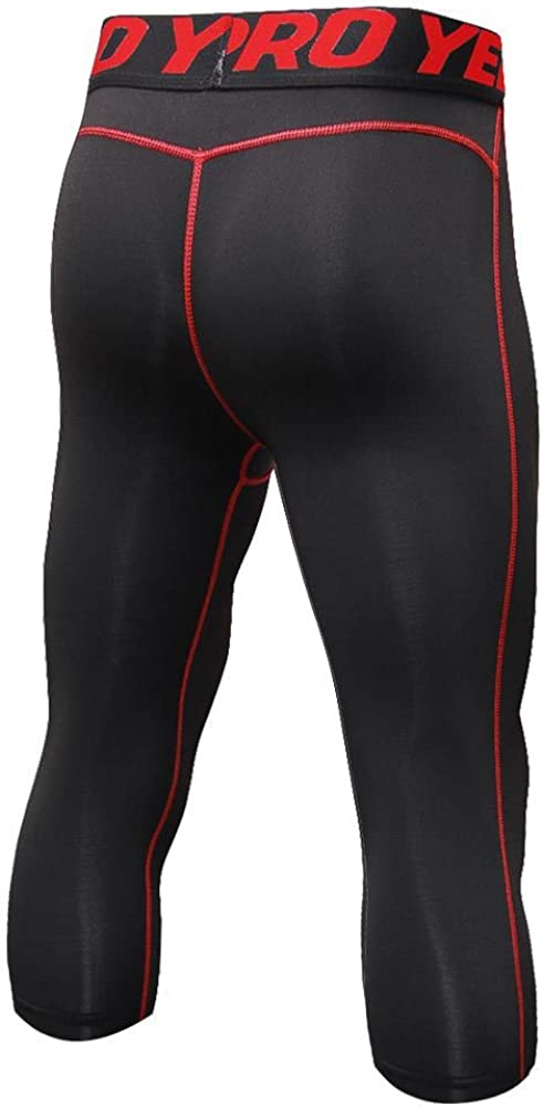 Luxsea Mens 3//4 Sport Leggings Quick Dry Yoga Workout Running Fitness Stretch Tights Pants