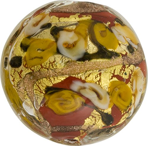 Maroon with Yellow Roses & Aventurina and 24kt Gold Foil Bed of Roses 25mm Murano Glass Bead Handmade Lampwork