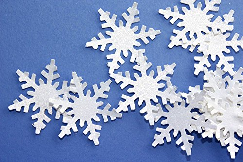 White Shimmer Snowflake Confetti - Paper Snowflake Party Decoration Cutouts (100 Count) from Crafts & Confetti