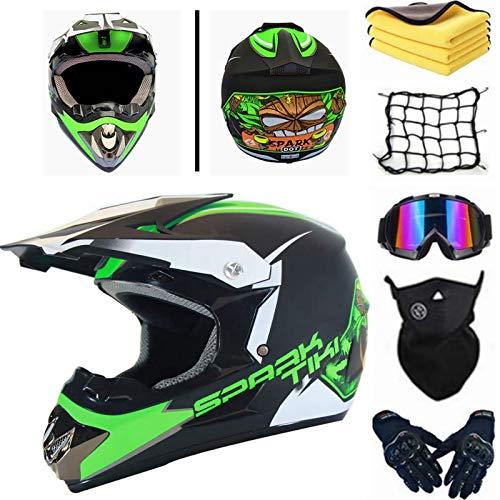 AGVEA Motocross-Helm mit Schutzbrille, crosshelm kinder,Unisex, fullface helm,enduro helm,crosshelm mit brille,downhill…