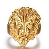 Men's Vintage 316L Stainless Steel Gold Lion Head Rings Gold Heavy Metal Rock Punk Style Gothic Biker Ring Size 8-12
