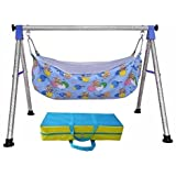 A to Z Hub Baby Cradle N Swing Ghodiyu with Indian Style Hammock Having Mosquito Net for New Born Infants,Blue