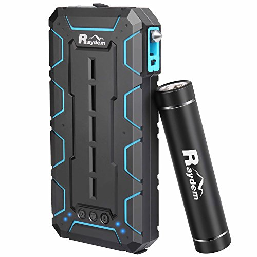 Raydem 2-pack Outdoor Portable Charger 10000mAh 2 USB Ports External Battery with Flashlight Cigarette Lighter Safety Hammer and Ultra-compact 2500mAh Power Pack with Handheld Flashlight