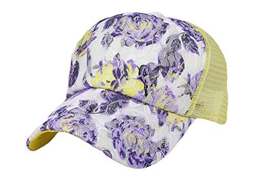 Qunson Womens's Mesh Lace Flower Print Trucker Baseball Cap Hat