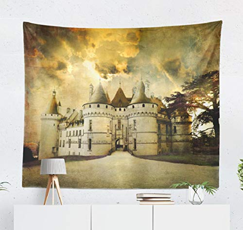 Happyome Ancient Castle Tapestry, Wall Hanging Tapestry Castle Sunset Artistic Picture Old Frame Tale France Wall Tapestry Dorm Home Decor Bedroom Living Room in 80