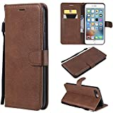 Flip Wallet Case for iPhone 7 Plus,Gostyle iPhone 8 Plus Premium PU Leather Case with Credit Card Holder,Retro Book Style Stand Cover with Magnetic Closure Hand Strap-Brown